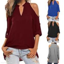 Round V Neck Long Sleeve Strapless Shoulder Casual T-Shirts