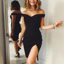 Sexy Plain Split Bodycon Dress