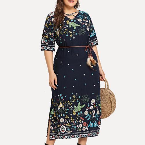 Floral Lace Up Long Maxi Dress