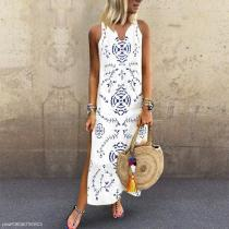 Casual V Collar Floral Printed Loose Maxi Dress