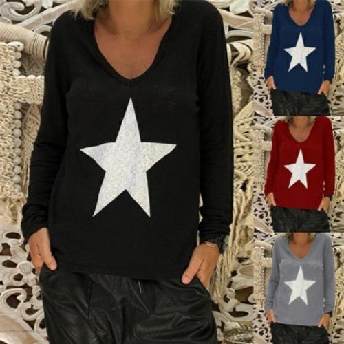 V Neck Star Printed Long Sleeve Casual T-Shirts
