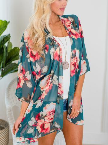 3/4 Sleeve Floral Cardigans