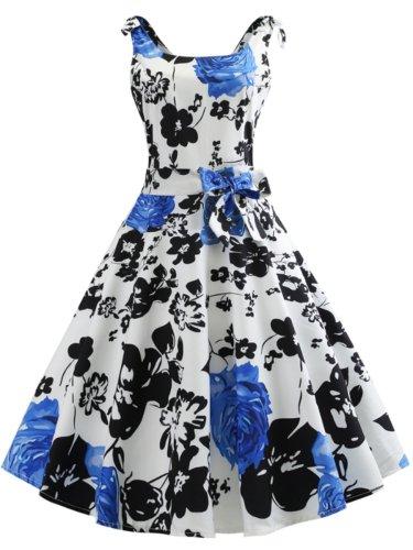 Bowknot Floral Vintage Dresses
