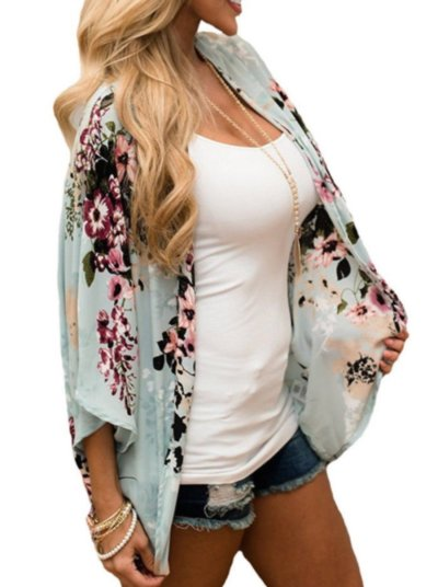 Casual Floral Batwing Sleeve Cardigan