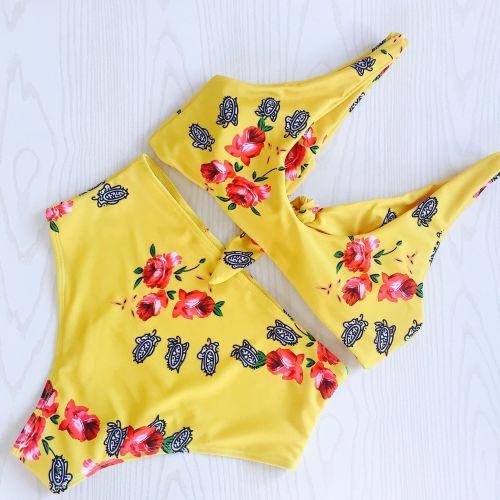 High Waist Printed Swimwear