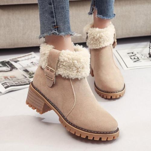 Plain  Velvet  Round Toe  Casual Date  Short High Heels Boots