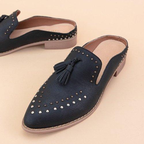 Fashion Pure Color Rivet Tassel Tip Sandals