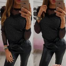 Round Neck Mesh See Through Long Sleeve T-Shirts