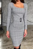 Casual Check Long Sleeve Button Decoration Bodycon Dresses