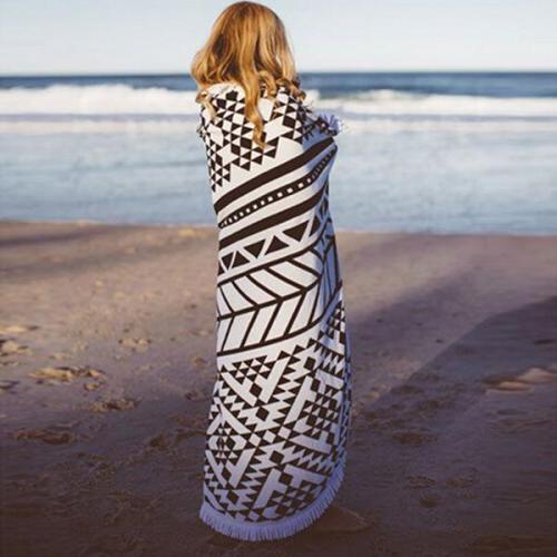 Geometric Printed Round Beach Towel Tassel Shawl