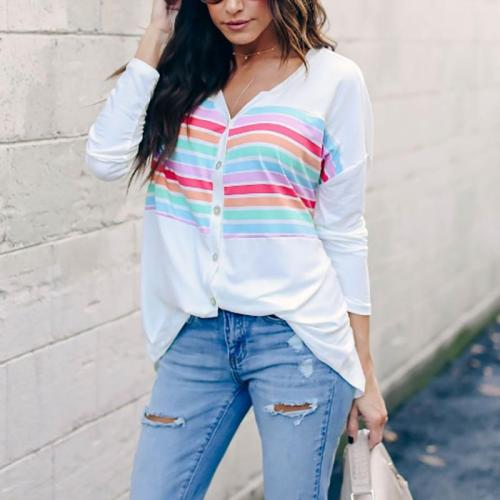 Casual V Neck Printed Colour Striped T-Shirts