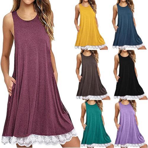 Asymmetric Hem Plain Casual Dresses