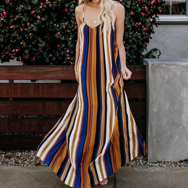 Sexy Striped Sling Strapless Dress