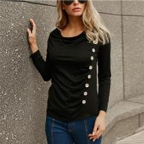 Solid Color Long Sleeve Pleat Button T-Shirt
