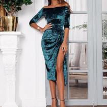 Casual Fashion   Shoulder A Word Split High Elastic Pleuche Maxi Dress