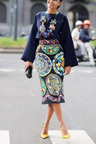 Fashionable Square Collar Vintage Printed Dress Set