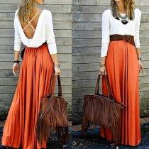 Fashion Casual Splicing Backless Maxi Dress