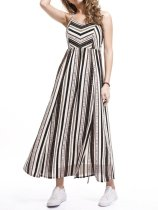 Spaghetti Strap  Side Slit  Printed Maxi Dress