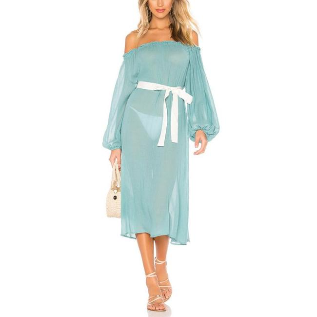 Sexy One Word Collar Long Sleeve Solid Color Dress