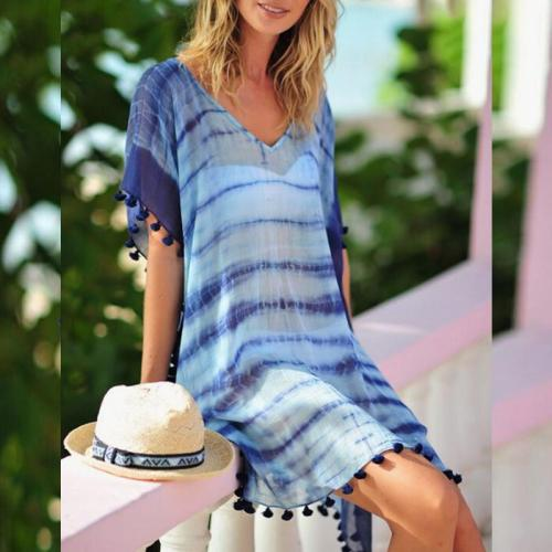 V Neck Chiffon Short Sleeve Tassel Casual Dress