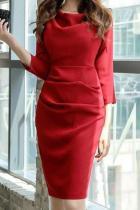 Cowl Neck  Plain Bodycon Dress