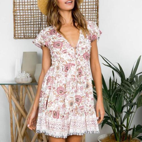 Sexy V Neck Short Sleeve Printed Colour Mini Dresse