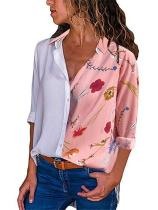 Fashion Casual Long Sleeved Lapel Digital Printed Button Shirt