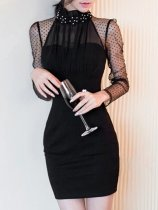 Sexy Black See-Through Band Collar Beading Bodycon Dress