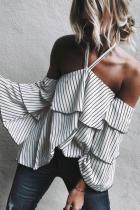 Halter  Striped  Bell Sleeve  Blouses