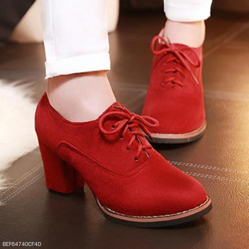 Plain  Chunky  High Heeled  Velvet  Criss Cross  Point Toe  Outdoor High Heels Boots