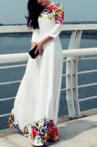 Printed Floor Length White Evening Dress