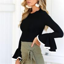Fashion Round Collar Bell Sleeves Shown Thin T Shirt Blouse