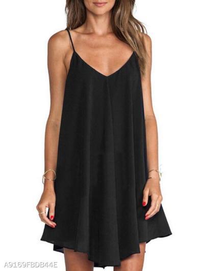 Spaghetti Strap Asymmetric Hem Backless Plain Skater Dress