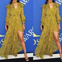 Sexy Leopard Print V Collar Long Falbal Sleeve Irregular Fork Maxi   Dress