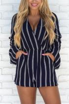 V Neck  Lace Up  Stripes  Long Sleeve  Playsuits