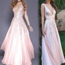 Elegant Noble Slim Paillette Deep V Collar Braces Evening Dress