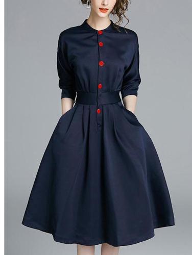 OL Shirt Skirt Female Long Section Waist Temperamental Dress