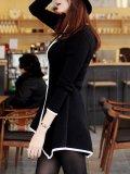 Asymmetric Hem Contrast Trim Zips Blazer