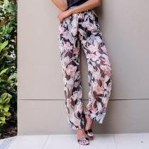 Fashion Loose Printing Chiffon Beach Pants With Belt