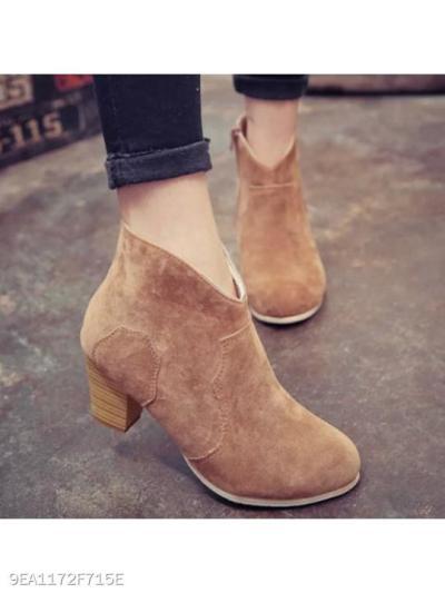 Plain Chunky High Heeled Velvet Round Toe Outdoor High Heels Boots