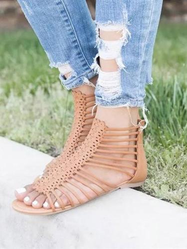 Women's Fashion Bandage Sandals Zipper Closure