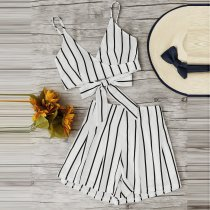 Classic Stripe Printed Beach Vacation Casual Set