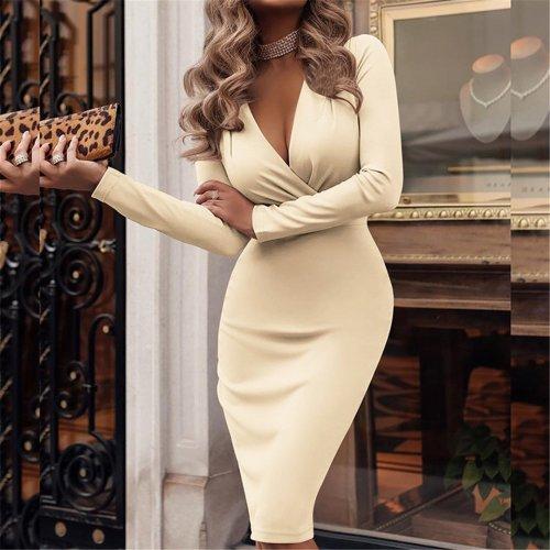 Fashionable Deep V Neck Long Sleeve Bodycon Dresses