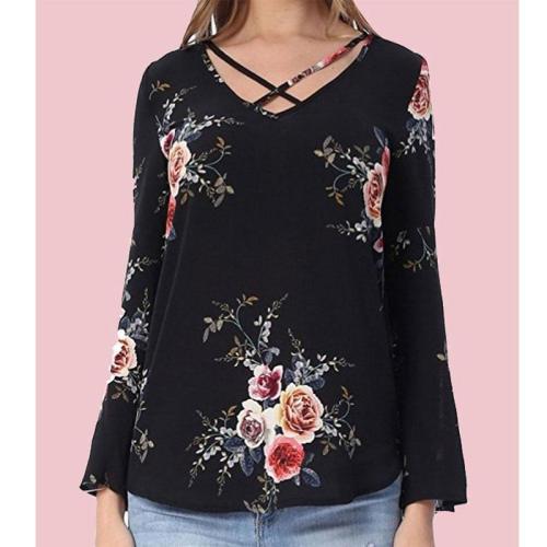 Surplice Floral Printed Long Sleeve Blouses