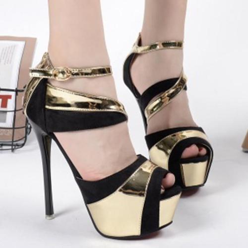 Peep Toe Buckle Stiletto Platform Heels