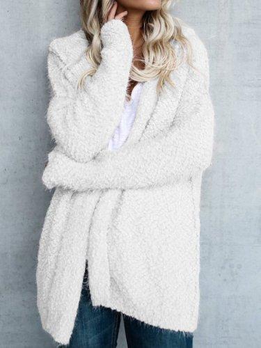 Hooded Long Sleeve Plain Cardigans