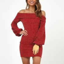 Sexy Off Shoulder Long Lantern Sleeve Knitting Bodycon Dress