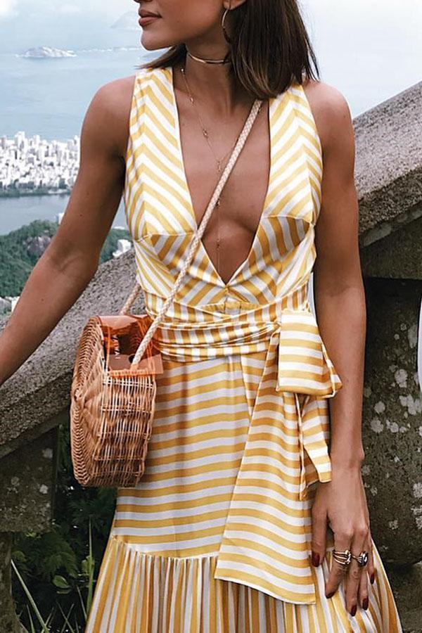 Sexy Fashion Stripe Sleeveless Maxi Dress