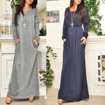 Casual Long Sleeve Belt Maxi Dress