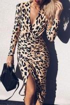 Elegant V-Neck Leopard Print Long-Sleeved Wrap Bodycon Dresses